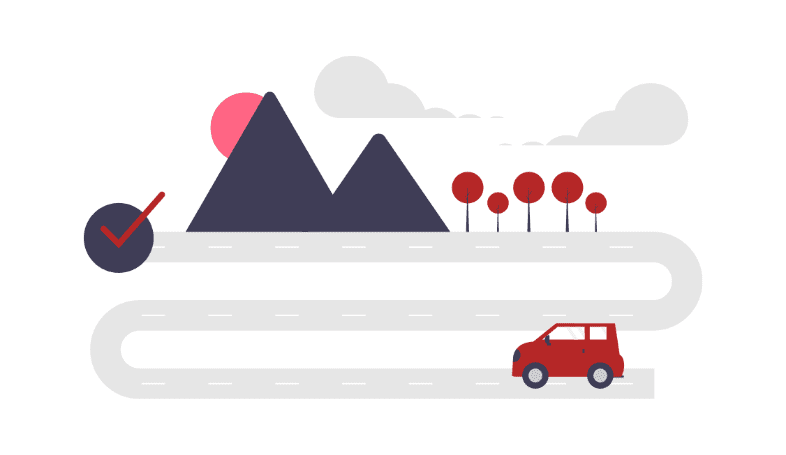 Illustration of a red car on a road successfully driving towards its destination