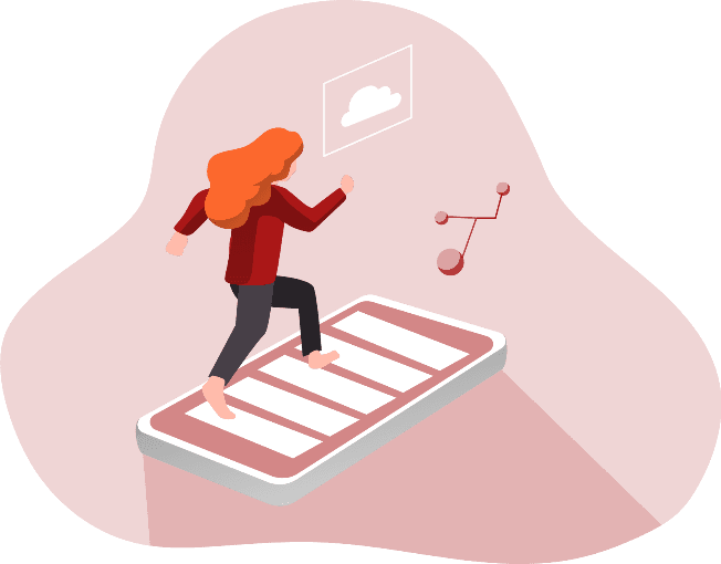 Illustration depicting a woman with a positive mobile experience