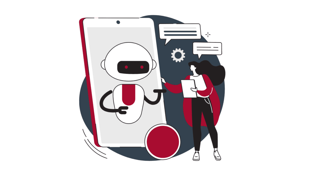 Insurance chatbots illustration showing a user interacting with a humanoid robot on a mobile screen
